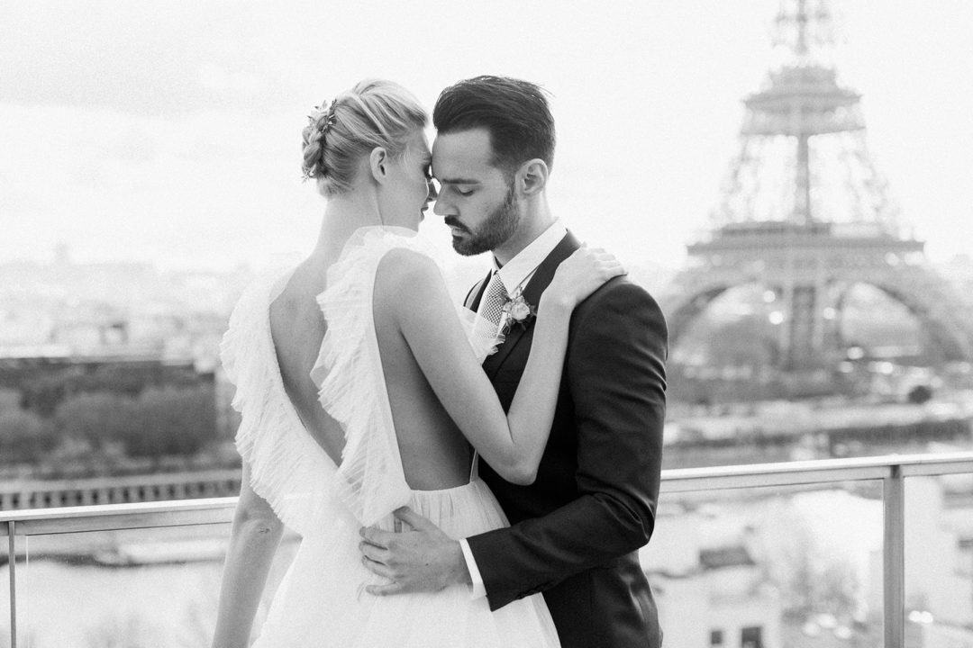 Paris elopement styled shoot film photographer wedding Shangri-La Eiffel Tower fine art