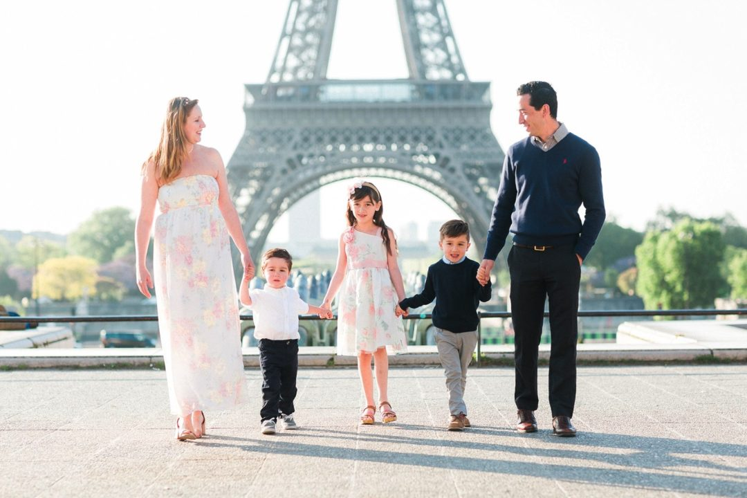 Paris family photographer Eiffel Tower kids mother father fine art film France photo session shoot best professional Louvre