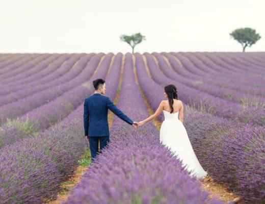 lavender fields prewedding photographer Provence Aix-en-Provence Paris natural light romantic best film pre-wedding South France
