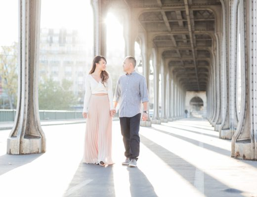Paris photographer engagement shoot natural light film fine art France love session Eiffel Tower natural light fine art film romantic shoot elegant France