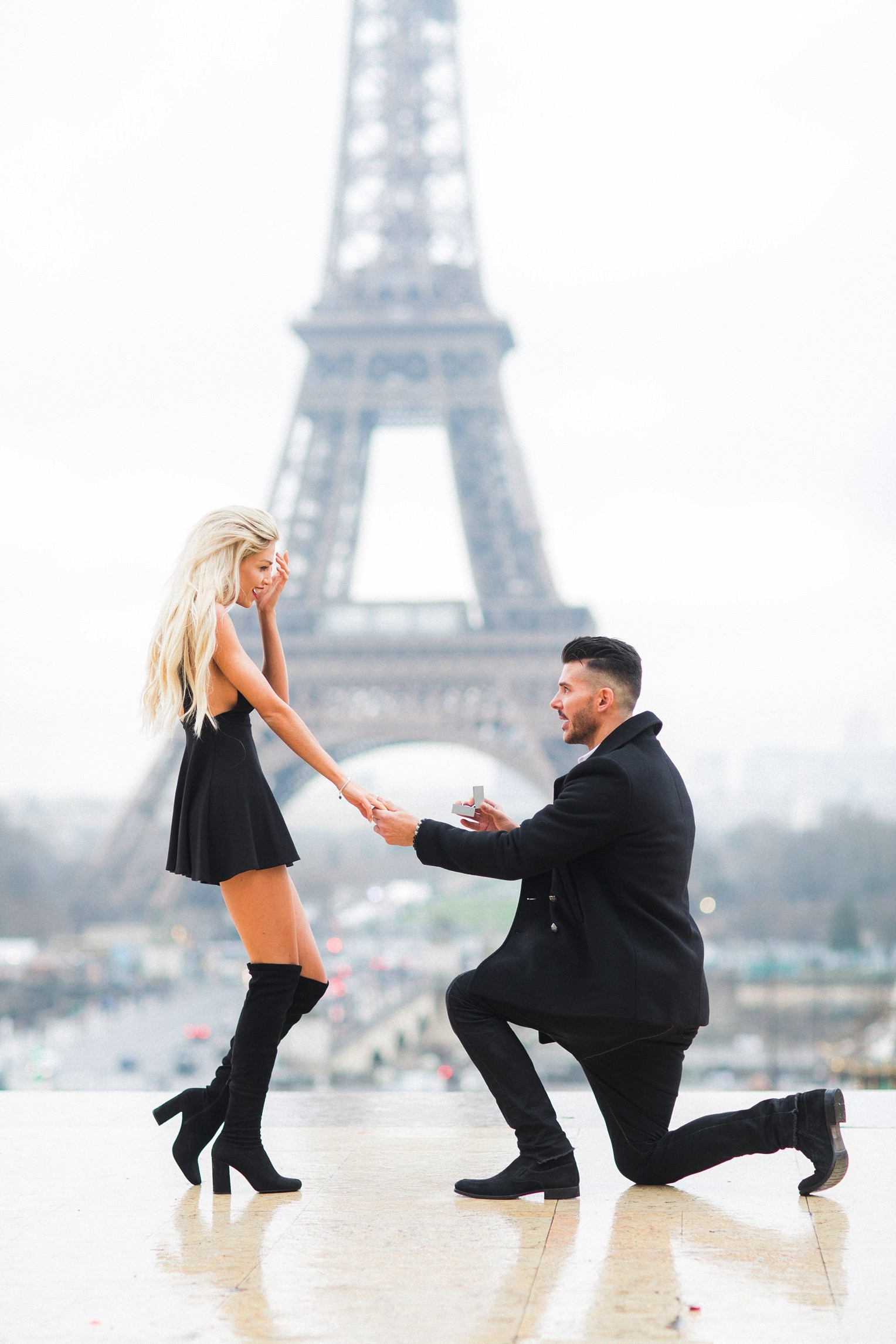 Proposal Eiffel Tower French Grey Photography Paris11