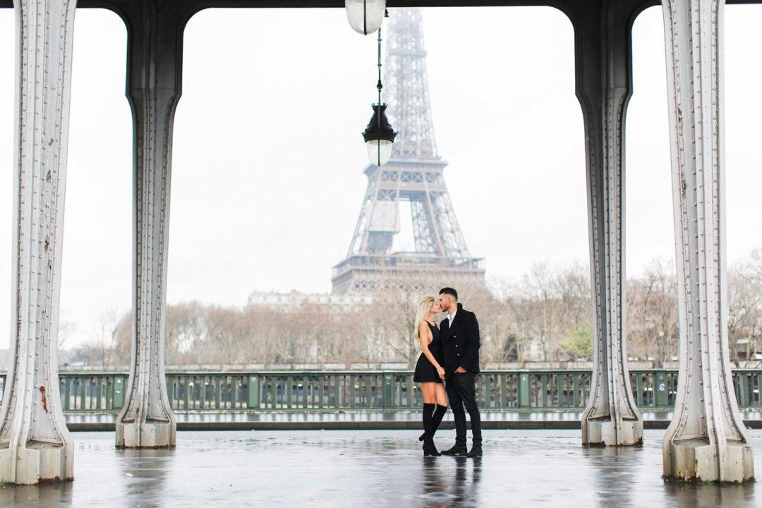 Paris surprise proposal photographer engagement shoot natural light film fine art France love session Eiffel Tower natural light fine art film romantic shoot elegant France